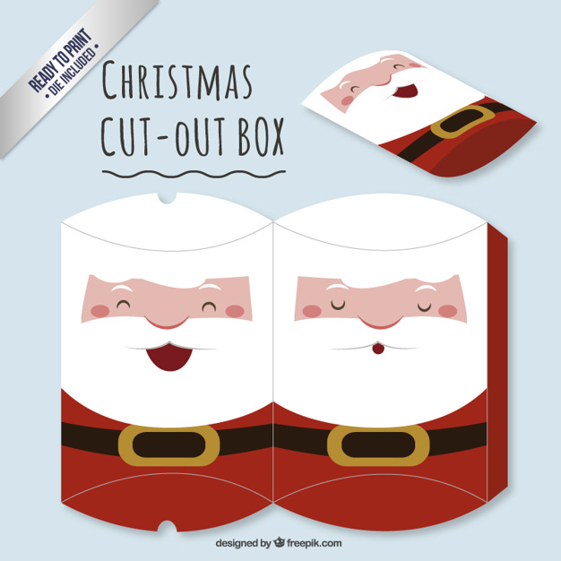 Cute santa claus cut out box