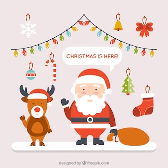 Cute Santa Claus illustration and a reindeer