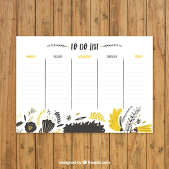 Cute schedule with yellow flowers