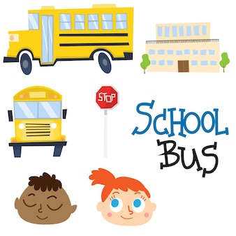 Cute school bus and school vectors