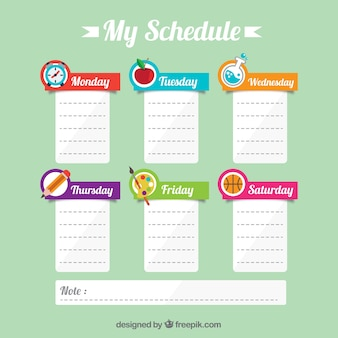 Cute school schedule with notes