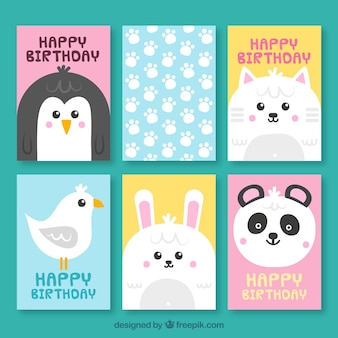 Cute set of cards with happy animals