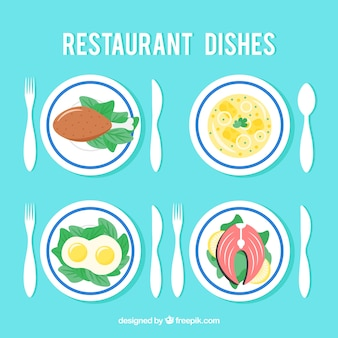 Cute set of dishes for restaurant