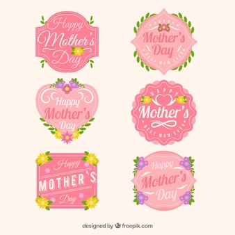 Cute set of floral badges for mother's day