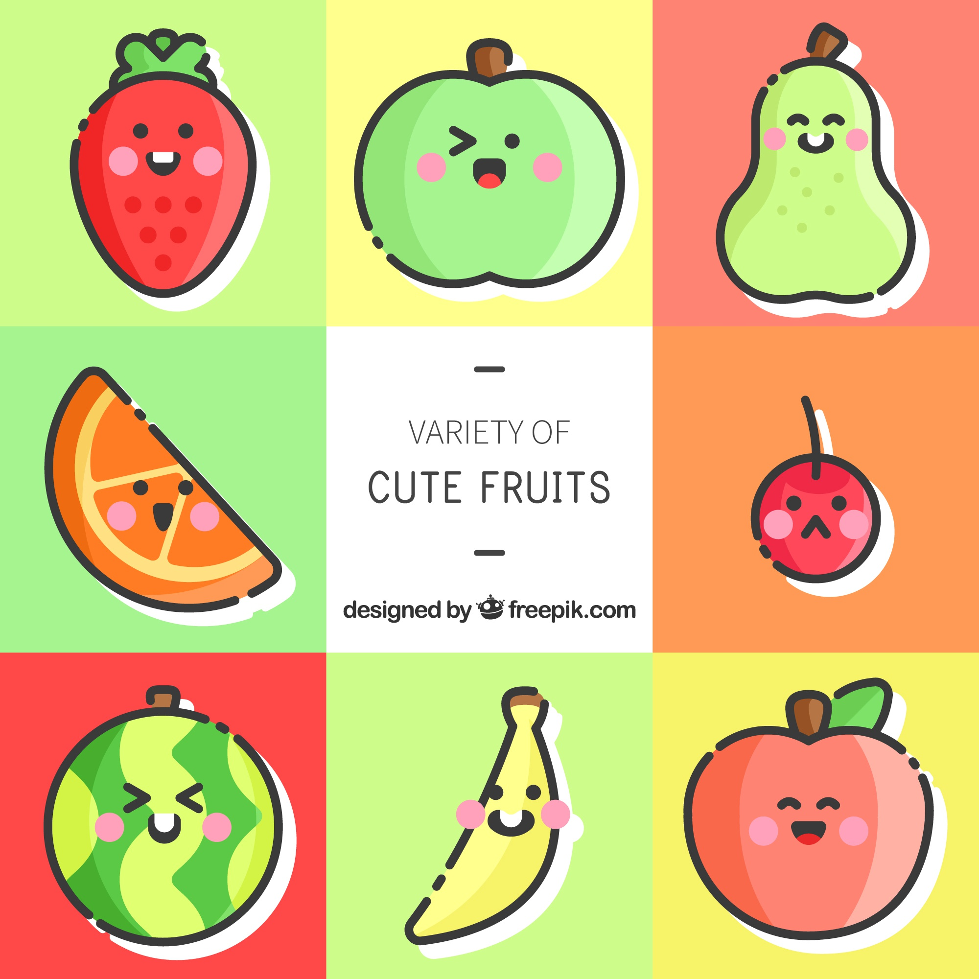 Cute set of fruit characters with great expressions