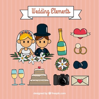 Cute set of great wedding elements