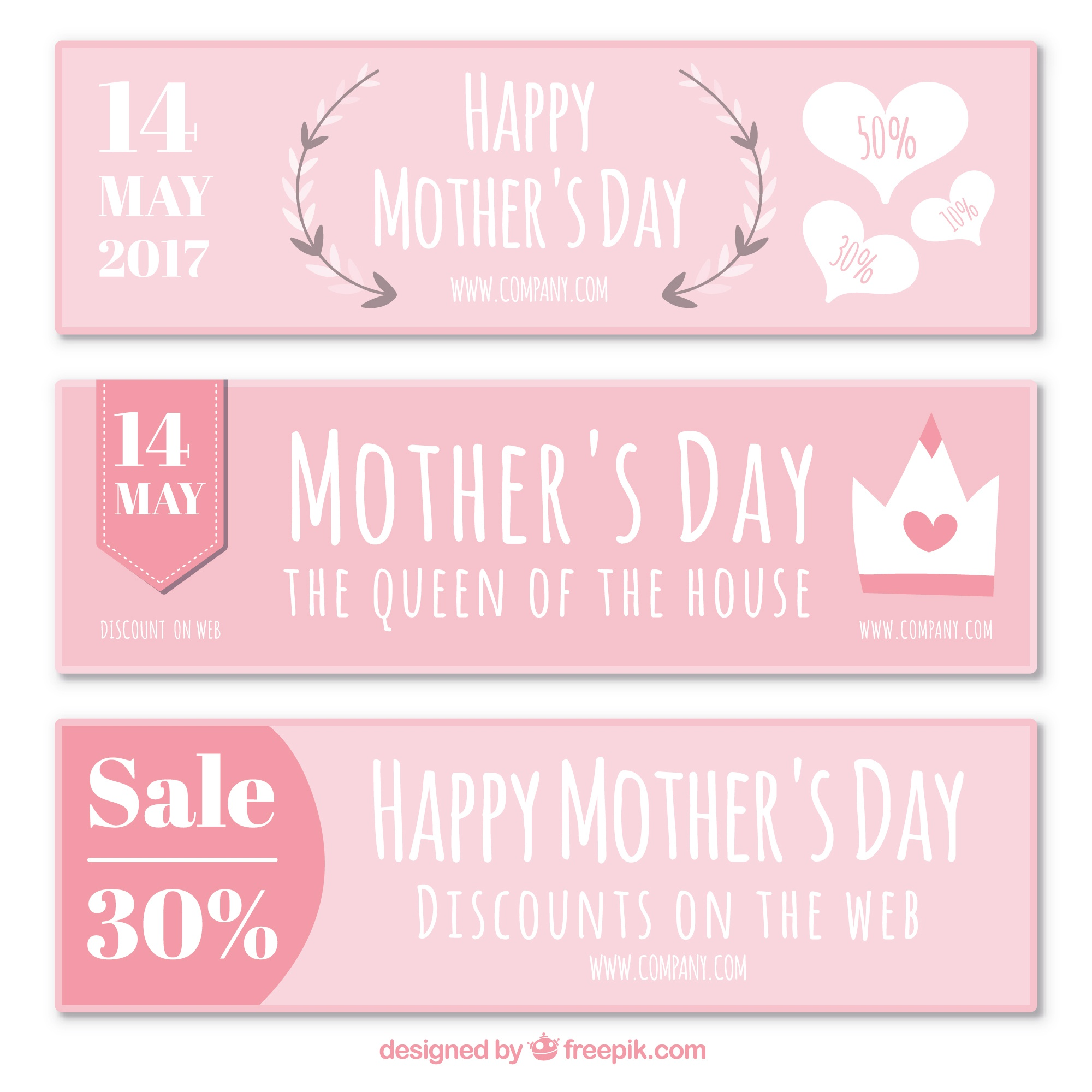 Cute set of mother's day discount banners