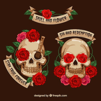 Cute skulls with decorative flowers