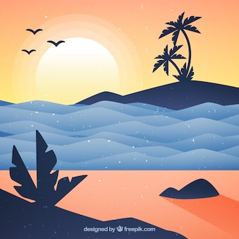 Cute sunset background with waves