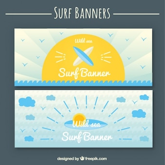 Cute surf elements banners in flat design