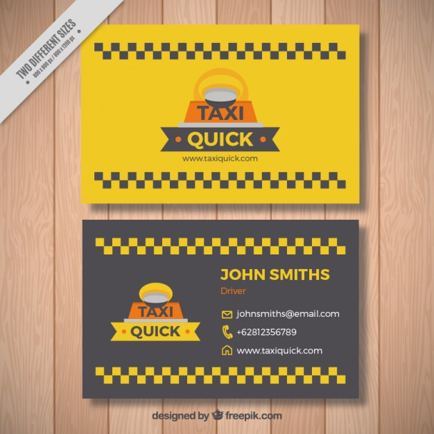 Cute taxi card with squares