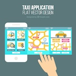 Cute template for a mobile application of the taxi company