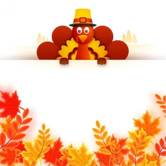 Cute turkey with sign and decorative leaves