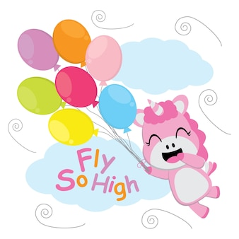 Cute unicorn flies with colorful balloons vector cartoon, Kid postcard, wallpaper, and greeting card, T-shirt design for kids