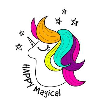Cute unicorn. Vector cartoon character illustration.