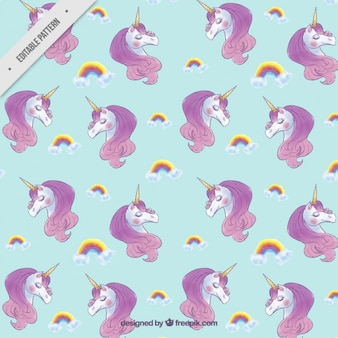 Cute unicorns with rainbows pattern