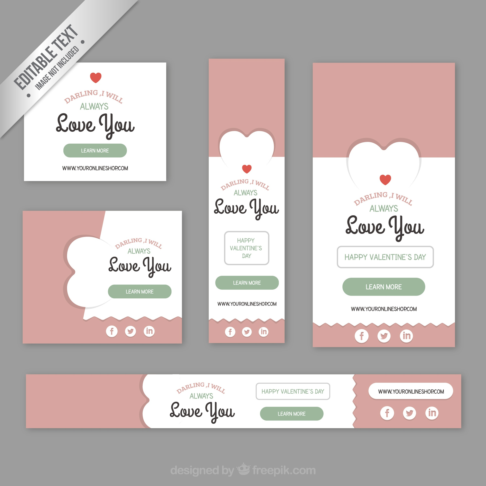 Cute valentine banners pack
