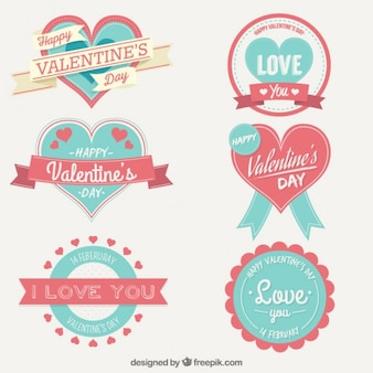 Cute valentine day labels collection