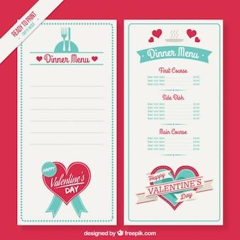 Cute valentine day menu template