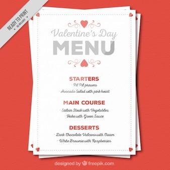 Cute valentine day menu