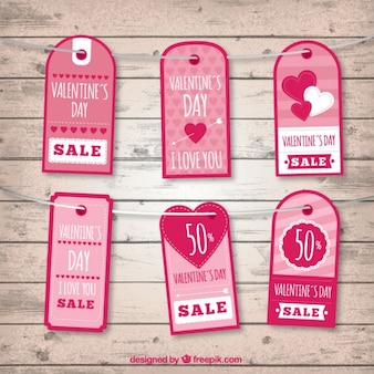 Cute valentine day pink tags