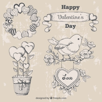 Cute valentine ornaments in vintage style
