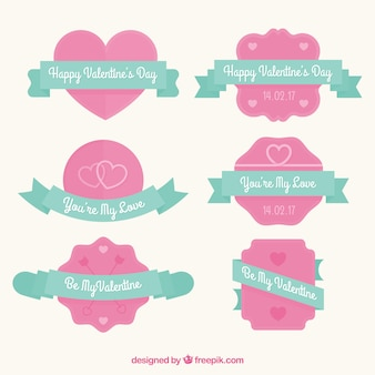 Cute valentine's badges in pastel colors