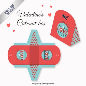 Cute valentines day box in coral and blue color