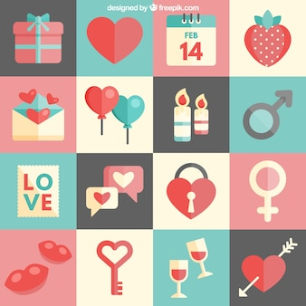 Cute valentines day icons