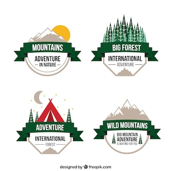 Cute variety of adventures badges with a green ribbon