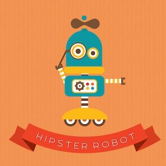 Cute vector hipster robot character