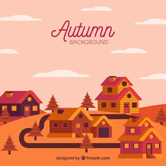 Cute village during the autumn