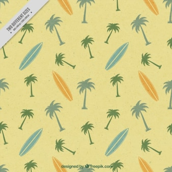Cute vintage background of surf with surfboards and palm trees