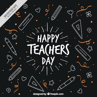 Cute vintage background with drawings of teacher's day
