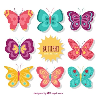Cute vintage butterflies designs set