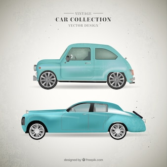 Cute vintage light blue cars