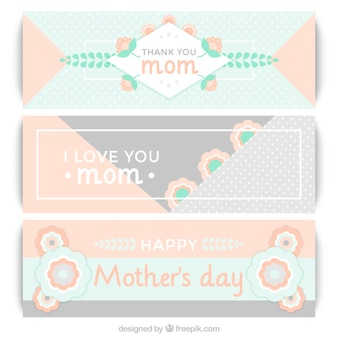 Cute vintage mother's day banners in pastel colors