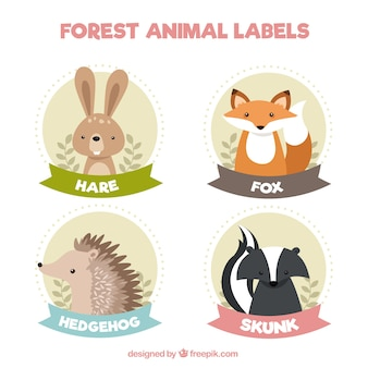 Cute vintage stickers of lovely animals