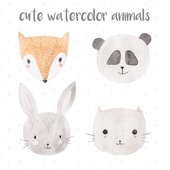 Cute watercolor animals