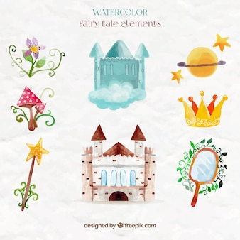 Cute watercolor castle and fairy tale elements