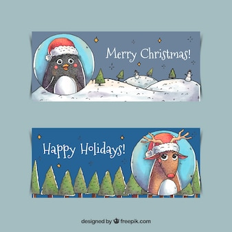 Cute watercolor christmas characters banners
