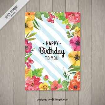 Cute watercolor floral birthday card