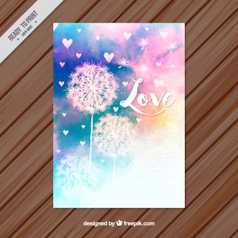 Cute watercolor floral love card with little hearts