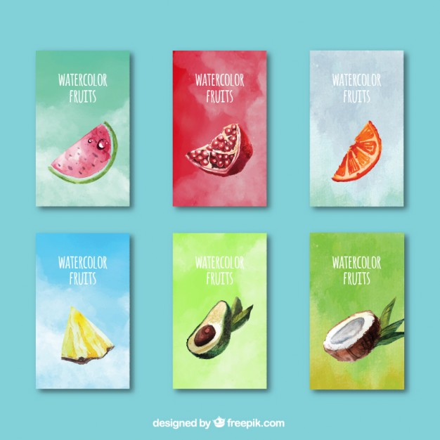 Cute watercolor fruits summer cards
