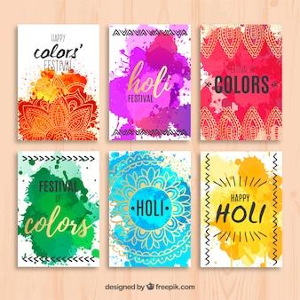 Cute watercolor holi cards with mandala
