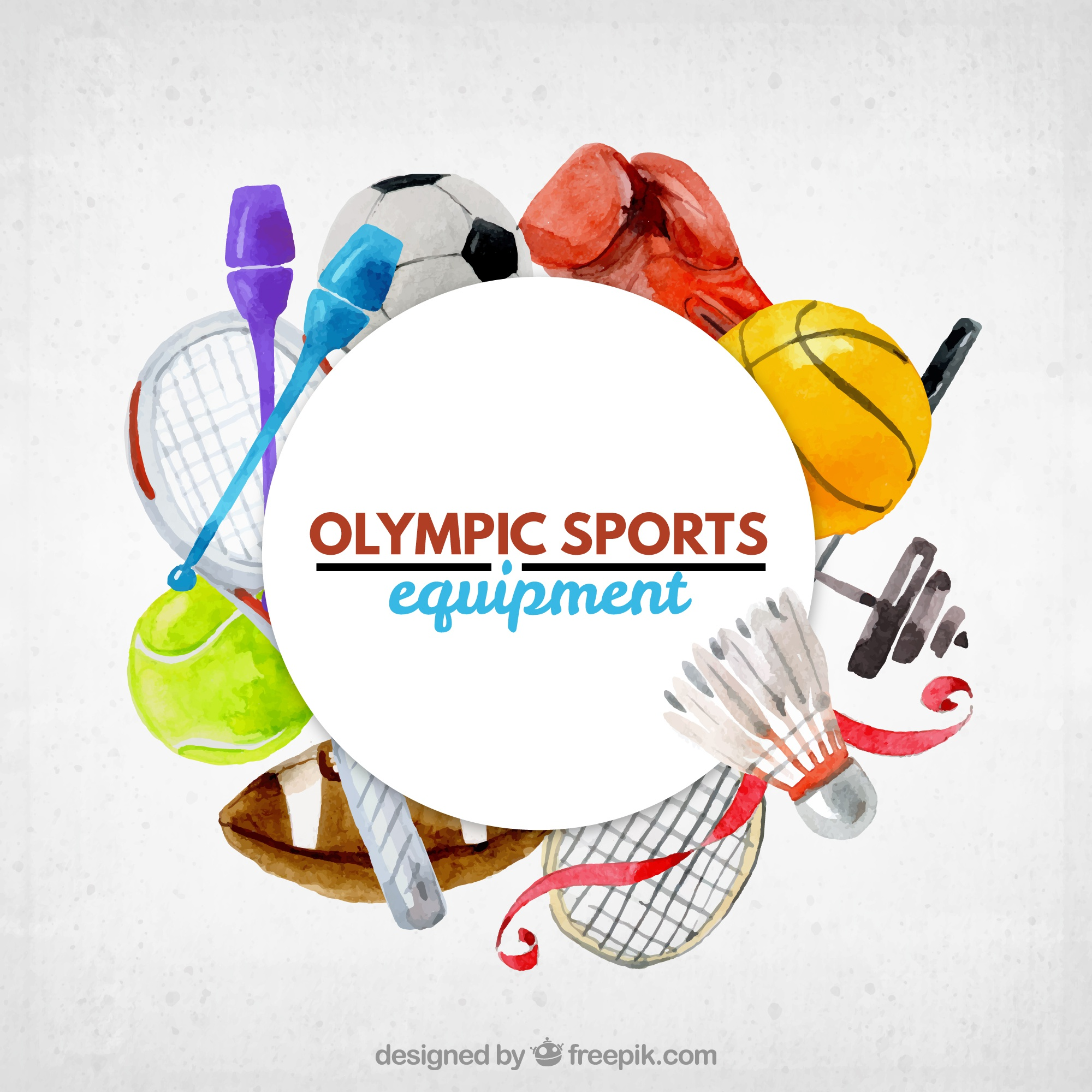 Cute watercolor olumpic sports equipment background