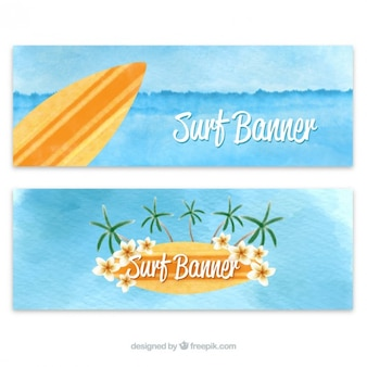 Cute watercolor surf banners set