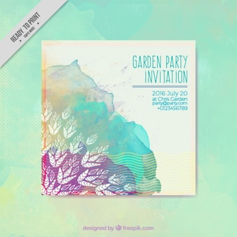 Cute watercolro garden party card with paint stain and hand drawn leaves