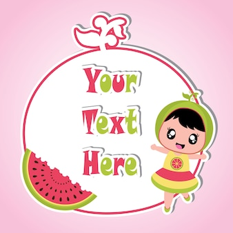 Cute watermelon girl on red frame for kid memo paper