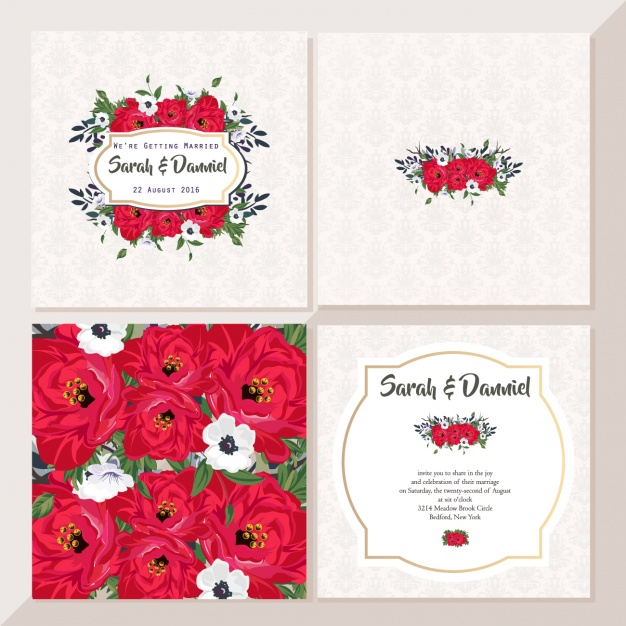 Cute wedding cards with red flowers